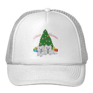 Westies por el árbol de navidad gorro