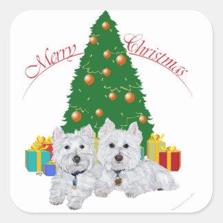 Westies por el árbol de navidad calcomanía cuadradase