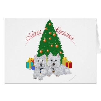 Westies por el árbol de navidad tarjetas