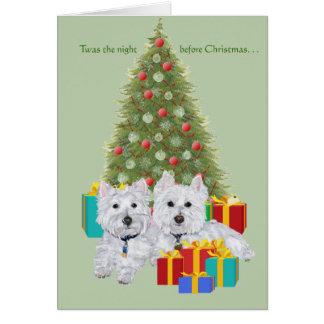 Westies por el árbol de navidad tarjeta de felicitación