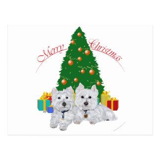 Westies por el árbol de navidad tarjetas postales