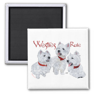 Westies Rule! 2 Inch Square Magnet