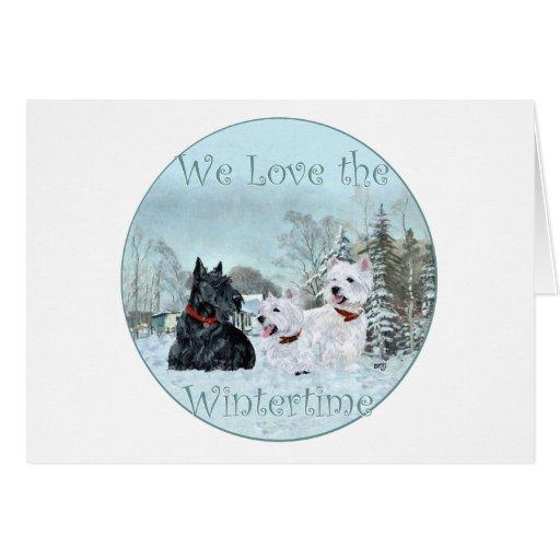Westies & Scottie in Wintertime Greeting Card