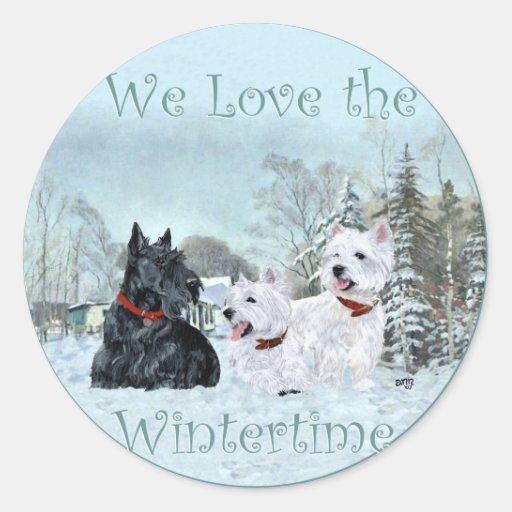 Westies & Scottie in Wintertime Round Stickers