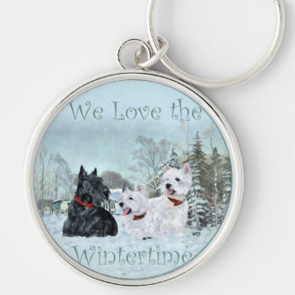 Westies & Scottie in Wintertime Silver-Colored Round Keychain