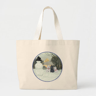 Westies & Scottie with Snowman Tote Bags
