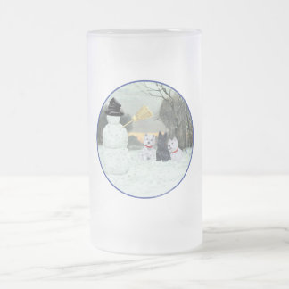Westies & Scottie with Snowman Frosted Glass Beer Mug