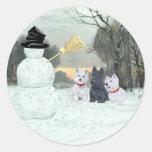 Westies & Scottie with Snowman Stickers