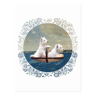 Westies Set Sail Postcard