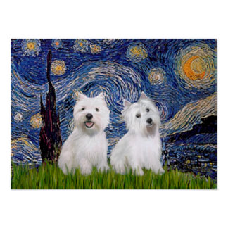 Westies (two) - Starry Night Poster