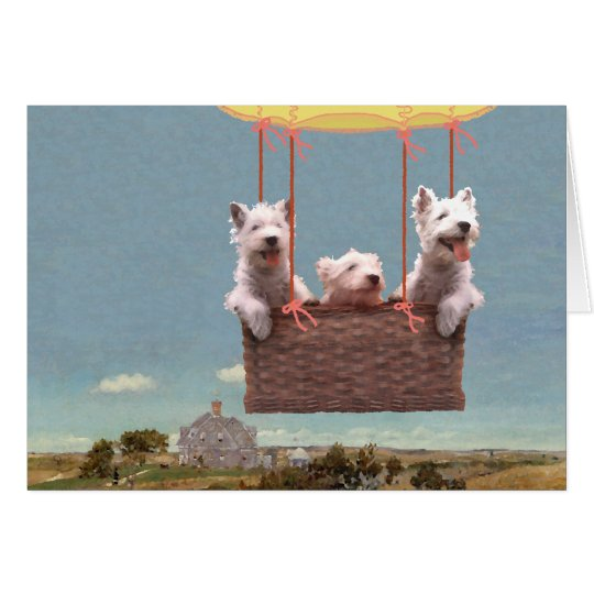 Westies Up in a Balloon Card