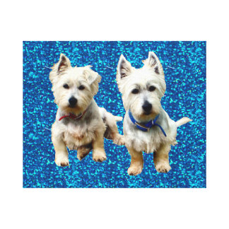Westies Wall Canvas.. Stretched Canvas Print