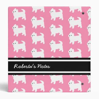 Westies West Highland Terrier Pattern Pink Binder