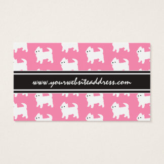 Westies West Highland Terrier Pattern Pink Business Card