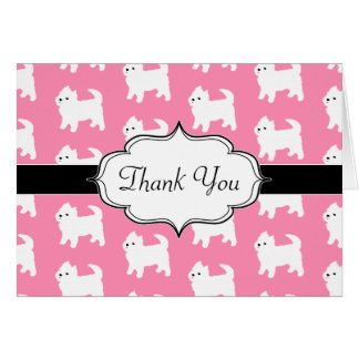 Westies West Highland Terrier Pattern Pink Card