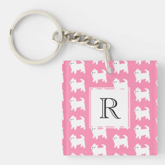 Westies West Highland Terrier Pattern Pink Double-Sided Square Acrylic Keychain