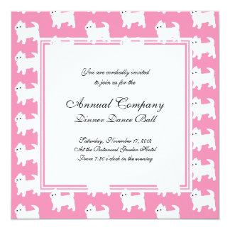 """Westies West Highland Terrier Pattern Pink 5.25"""" Square Invitation Card"""
