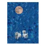 Westies Wishing on the Moon Postcard