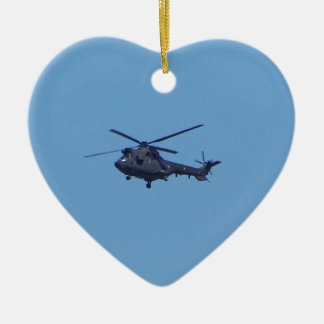 Westland Puma Military Helicopter Double-Sided Heart Ceramic Christmas Ornament
