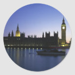 Westminister Palace at Night Classic Round Sticker