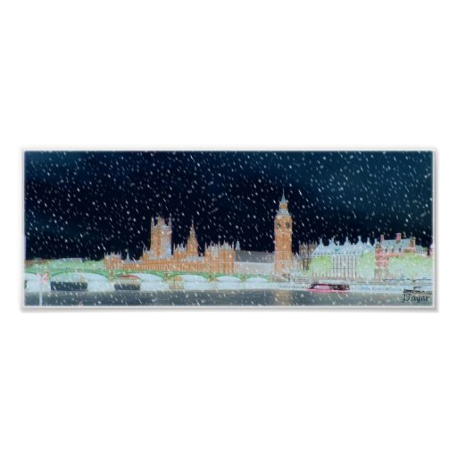 Westminster Abbey and Big Ben - Snowy Night Print