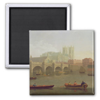Westminster Abbey and Westminster Bridge Seen from 2 Inch Square Magnet