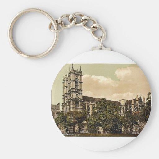Westminster Abbey, London, England rare Photochrom Basic Round Button Keychain