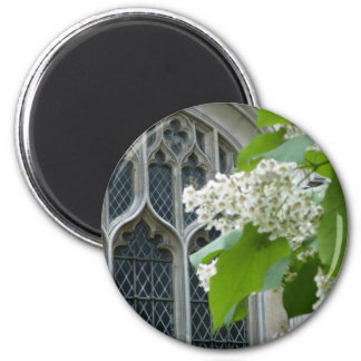 Westminster Abbey with flowers 2 Inch Round Magnet