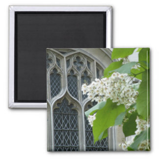 Westminster Abbey with flowers 2 Inch Square Magnet
