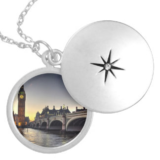 Westminster Bridge and Big Ben Round Locket Necklace