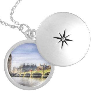 Westminster Bridge and London Buses Art Round Locket Necklace