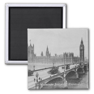 Westminster Bridge and the Houses of 2 Inch Square Magnet