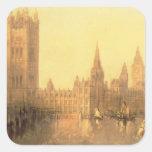 Westminster: Casas del parlamento, c.1860 (aceite Pegatina Cuadrada
