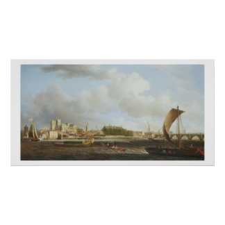Westminster from Lambeth, with the ceremonial barg Poster
