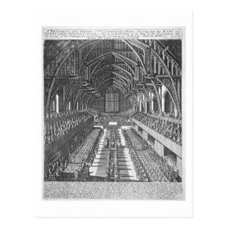 Westminster Hall durante las celebraciones después Postal