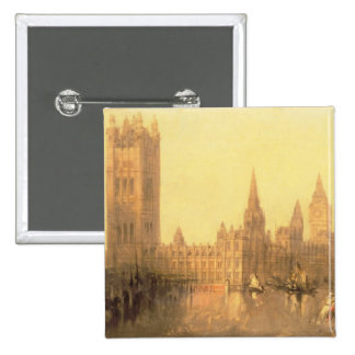 Westminster: Houses of Parliament, c.1860 (oil on Pinback Button