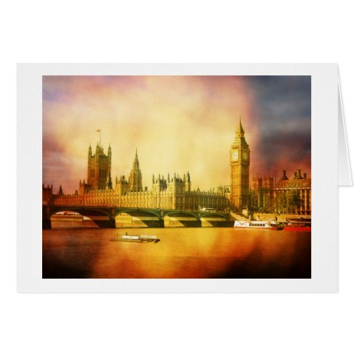 Westminster Palace and Bridge with Big Ben Greeting Card