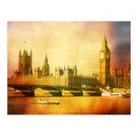 Westminster Palace and Bridge with Big Ben Postcard
