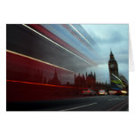 Westminster Palace London England with Red Bus Card