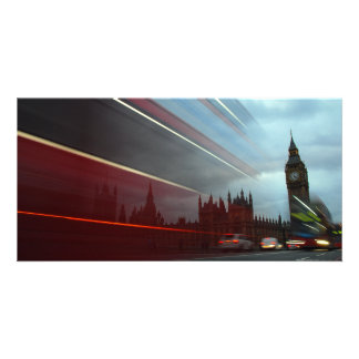 Westminster Palace London England with Red Bus Photo Card Template