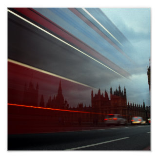Westminster Palace London England with Red Bus Poster