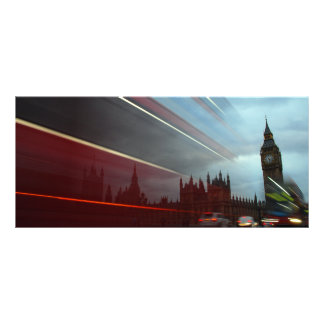 Westminster Palace London England with Red Bus Full Color Rack Card