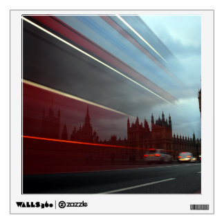 Westminster Palace London England with Red Bus Wall Decal