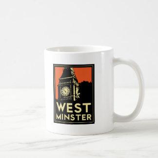 westminster retro art deco travel poster classic white coffee mug