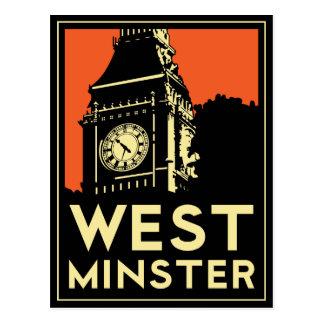 westminster retro art deco travel poster post card