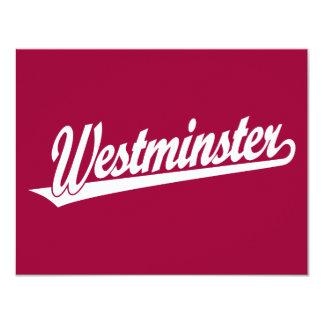 Westminster script logo in white card