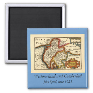"""Westmorland and Comberlad"" Old Cumbria County Map 2 Inch Square Magnet"