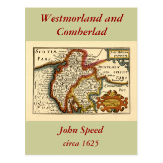 """Westmorland and Comberlad"" Old Cumbria County Map Postcard"