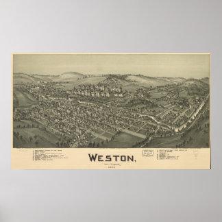 Weston W. Virginia 1900 Antique Panoramic Map Poster
