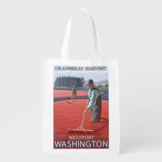 Westport, WashingtonCranberry Bog Harvest Reusable Grocery Bag
